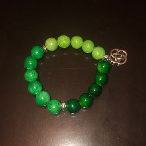 Celtic Knot Charm Jade Stretch Bracelet